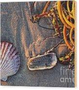 Along The Beach Texas Wood Print