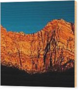 Alpenglow In Zion Canyon Wood Print
