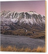 Alpenglow Over The Clyde River Wood Print