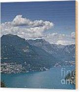Alpine Lake And Mountains Wood Print