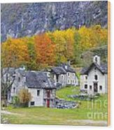 Alpine Village In Autumn Wood Print