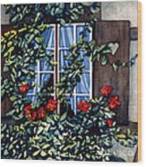 Alsace Window Wood Print by Scott Nelson
