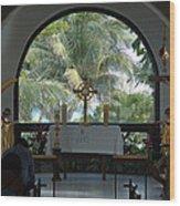 Altar Amid Palms Wood Print
