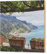 Amalfi Coast Vista From Under A Trellis Wood Print