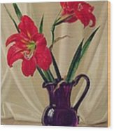 Amaryllis Lillies In A Dark Glass Jug Wood Print
