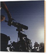 Amateur Astronomer Observing A Solar Eclipse Wood Print
