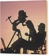 Amateur Astronomers With Meade 2080 20cm Telescope Wood Print