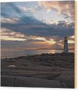 Amazing Sunset At Peggy's Cove Wood Print by Andre Distel