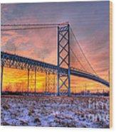 Ambassador Bridge Sunrise 1-16-2012  Detroit Mi Wood Print