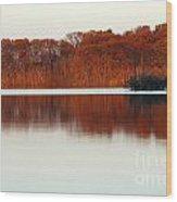 Amber Autumn Lake Wood Print