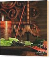 Amber Colored Candles Wood Print