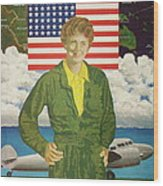 Amelia Earhart Calendar Art Wood Print
