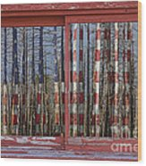 America Still Beautiful Red Picture Window Frame Photo Art View Wood Print