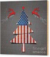 America X'mas Tree Wood Print by Atiketta Sangasaeng