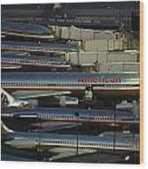 American Airlines Passenger Jets Wood Print
