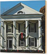 American Colonial Architecture Christmas  Wood Print