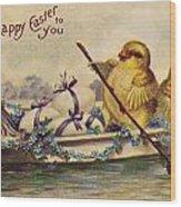 American Easter Card Wood Print