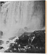 American Falls With Cave Of The Winds Walkway Niagara Falls New York State Usa Wood Print