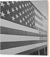 American Flag At Nathan's In Black And White Wood Print