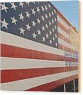 American Flag At Nathan's Wood Print