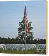 American Flag At Soldiers Graves Wood Print