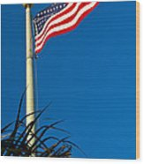 American Flag Flying Over The Palms Wood Print