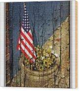American Flag In Flower Pot - 1 Wood Print