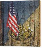 American Flag In Flower Pot - 2 Wood Print