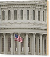American Flag On The Capitol Building Wood Print