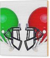 American Football Helmets Isolated Wood Print by Richard Thomas