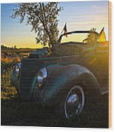 American Hot Rod Sunset Wood Print
