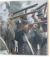 American Infantry Firing Wood Print