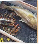 American Lobster And Cod Caught Off Chatham On Cape Cod Wood Print