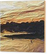 American River Sunset Wood Print