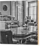 Americana - 1950 Kitchen - 1950s - Retro Kitchen Black And White Wood Print