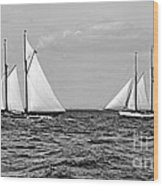 America's Cup Contenders Idler And Hildegarde 1901 Bw Wood Print by Padre Art