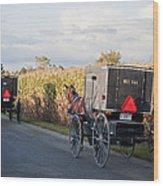 Amish Buggies October Road Wood Print
