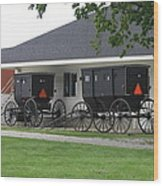 Amish Buggies Parked Wood Print