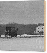 Amish Buggy Black And White Wood Print