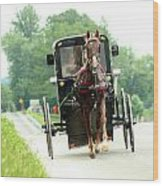 Amish Buggy On The Road Wood Print