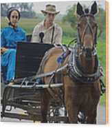 Amish Buggy Ride Wood Print