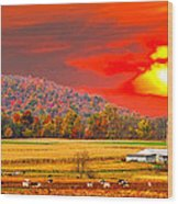 Amish Farm Sundown Wood Print by Randall Branham