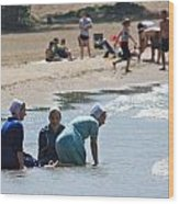 Amish Girls At The Beach Wood Print by MB Matthews