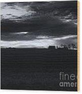 Amish Sunrise Black And White Wood Print