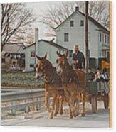 Amish Wagon Wood Print by Heidi Reyher