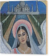 Amishi An Earth Angel Representing A Young Bride On Her Wedding Day Wood Print