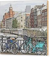 Amsterdam Canal And Bikes Wood Print