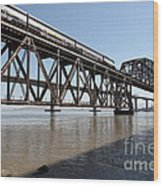 Amtrak Train Riding Atop The Benicia-martinez Train Bridge In California - 5d18829 Wood Print