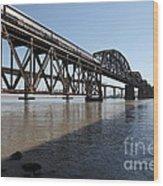 Amtrak Train Riding Atop The Benicia-martinez Train Bridge In California - 5d18830 Wood Print