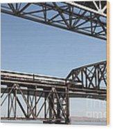 Amtrak Train Riding Atop The Benicia-martinez Train Bridge In California - 5d18835 Wood Print